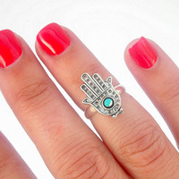 Protection Hamsa Above The Knuckle Ring - Silver Hamsa Knuckle Rings - by Tiny Box