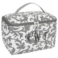 Monogrammed Grey Floral Cosmetic Bag