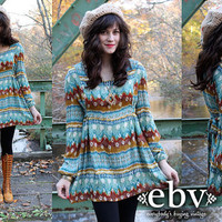 Vintage 70s Handmade Ethnic Print Hippie Boho India Babydoll Tunic Top Dress S M L XL