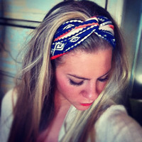 Orange/Blue Multicolored Tribal - Stretch Twist Headband