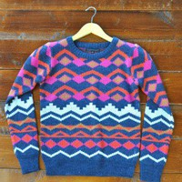 Fuchsia Cosby Sweater - $74.00: From ourchoix.com, this throwback charcoal sweater is printed in colorful graphics with a cropped neckline.