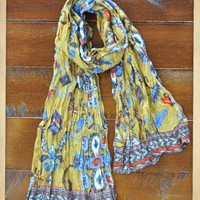 Gold Rush Scarf - $25.00: From ourchoix.com, this Southwestern gold based scarf comes in tribal inspired graphics.