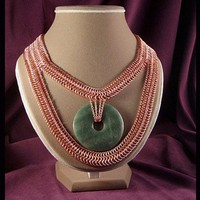Copper and marble necklace Euro 6 in 1 chain maille