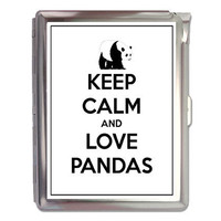 Keep Calm And Love Pandas Cigarette Case Lighter or Wallet Business Card Holder