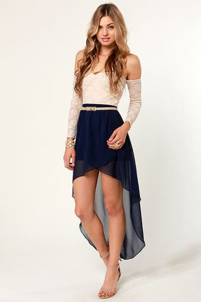 fall for it high low navy blue skirt from lulu s feeling