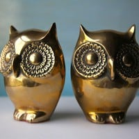 Brass Owl Bookends  Vintage Golden Lovelies by domestikate on Etsy