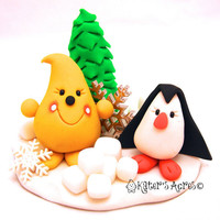 Snow Friends Parker StoryBook Scene - Twelve Days of Christmas Polymer Clay Character Figure