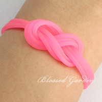 Infinity bracelet, love bracelet,pink plastic tube,sweet bracelet,gift to the one you love,christmas gift