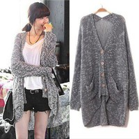 Korean Fashion Women Casual Loose Batwing Knitted Long Sweater Coat Knit Top