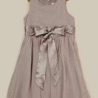 ideeli | US ANGLES Silk Chiffon and Silk Satin Charmeuse Dress with Front Tie
