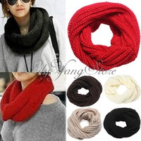 Women Winter Knitting Wool Cotton Blends Collar Neck Warmer Scarf Shawl 5 Colors