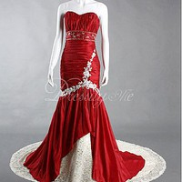 [$149.36 ] Stunning Taffeta Sweetheart Draped Mermaid Formal Dress - Dressilyme.com