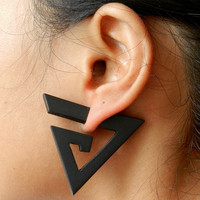 Fake Gauge Earrings -- 1 Pair Exotic Organic Wooden - Mayan Spiral Earrings - (By Fake Gauge Organics)