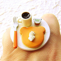 Pancake Food Ring Coffee Kawaii Cute Ring by SouZouCreations