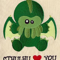 Cthulhu Loves You embroidered feeding bib by MorningTempest