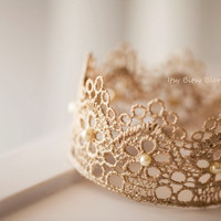 Beaded Antique Gold Lace Crown, Baby Photo Prop, Baby Girl Princess Crown, Antique Gold Newborn Tiara, Beaded Gold Lace Halo, Newborn Size
