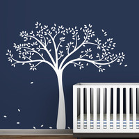 Kids white tree wall decal white leaves tree wall sticker white art - Monochromatic Fall Tree Extended