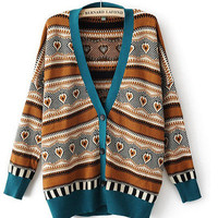 V-neck Strip Bat-wing Casual Loose Style Women Cardigan Coat Sweater Blouse Lady