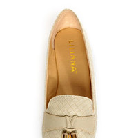 Messina 12 Beige Textured Tassel Smoking Slipper Flats