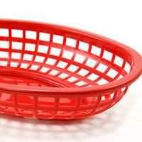 Red Plastic Food Baskets | Deli Style Fast Food Serving Basket RetroPlanet.com