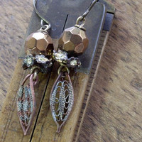 Copper Colored Dangle Earrings Vintage Assemblage by WhatOnceWas