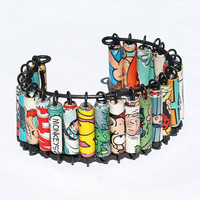 Paper Bead Jewelry Upcycled Comic Book Bracelet Cuff by Tanith
