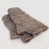 custom knit fingerless mittens-- the condyle fingerless mittens in mushroom
