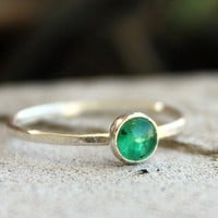 Emerald Birthstone Stacking Sterling Silver Ring