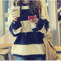 Fashion Women Chunky Knit Bat Wing Thick Pocket Loose Beige Blue Stripe Sweater