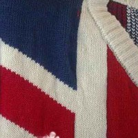 Womens V Neck UK Flag Union Jack Batwing Pullover Sweater Outerwear Loose Tops