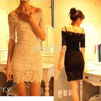Women&#x27;s Boat Neck Off Shoulder Lace Strap Slim Sexy Clubwear Party Mini Dress
