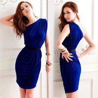 Elegant Womens Sexy Mini Dress Asymmetric One Shoulder Cocktail Party Pleat 4793