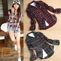 Women Button Down Lapel Shirt Plaids &amp; Checks Flannel Shirts Tops Blouse 4 SIZE