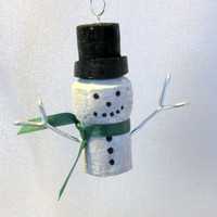 Snowman with Top Hat & Scarf Cork Christmas Ornament - Upcycled Cork