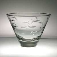 School of Fish Etched Stemless Martini Tumblers