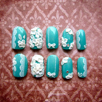 Something Blue -  3D fake nails