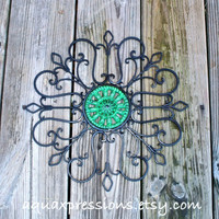 Metal Wall Fixture /Green /Distressed Patio Decor /Painted /Living room Decor /Outdoor /Iron Art /Ornate Christmas Decor