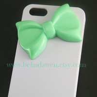 Iphone 5 Case, bow iphone 5 case, mint green bow, white hard Case, bow iphone case