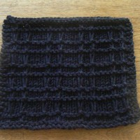 Beautiful Black Playful Plaid Hand Knit Cotton Dishcloth or Washcloth