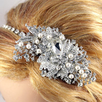 Alexandra- Extravagance Crystal Side Tiara, Austrian Crystal Bridal Headpiece, Wedding headband, big hair accessories