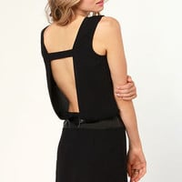 Espresso Self Backless Black Dress