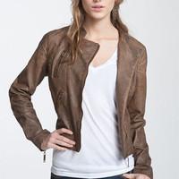 Jou Jou Weathered Faux Leather Quilted Moto Jacket (Juniors) | Nordstrom