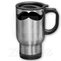 Funny Big Mustache Travel/Commuter Mug from Zazzle.com