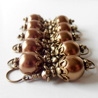 Bridesmaid Jewelry Dangle Earrings Mocha Brown Pearl Earrings Chocolate Brown Jewelry in Antiqued Bronze Bridesmaid Earrings Wedding Jewelry