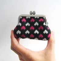 Frame Coin Purse hearts on black wool / Mini Jewelry Case with Ring Pillow