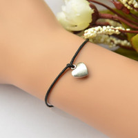Wish Bracelet, Silver Heart-shaped Bracelet On Black Wax Cord, Gift.