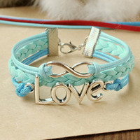 Infinity Bracelet- love bracelet -sky blue infinity love combination bracelet,gift for every girls