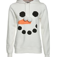White Snowman Face Hoodie