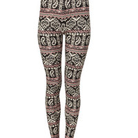 Mela Black and Pink Paisley Leggings