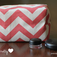 Large Makeup and Cosmetic Bag in Coral Chevron